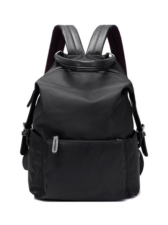 shop Double Buckle Splicing Zippers Backpack - BLACK