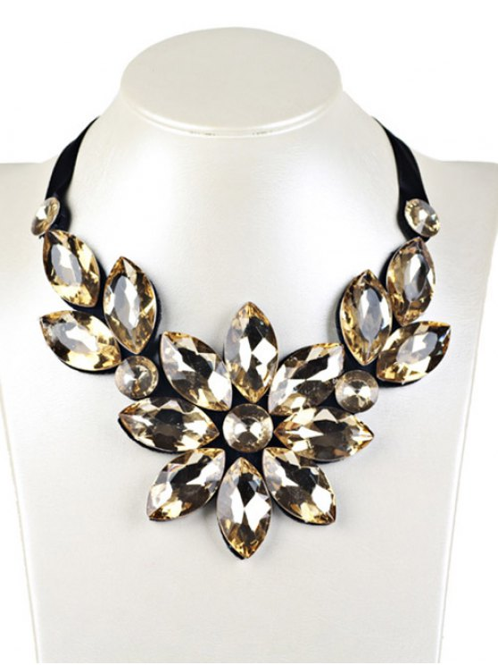 Floral Faux Crystal Statement Necklace - Yellow