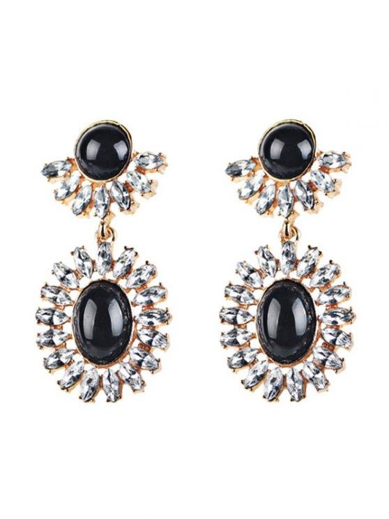 buy Rhinestoned Oval Drop Earrings - BLACK