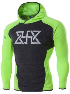 Sport Color Block Spliced Graphic Print Raglan Sleeve Hoodie - Neon Green L