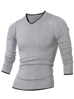 V Neck Selvedge Embellished Knitting Sweater - Gray M
