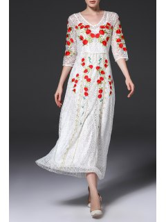V Neck Embroidered Lace Maxi Dress - White S