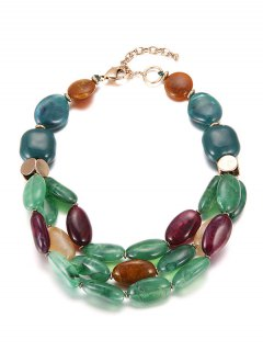 Multilayers Beads Faux Ceramic Necklace - Green