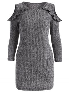 Cold Shoulder Bodycon Sweater Dress - Gray M