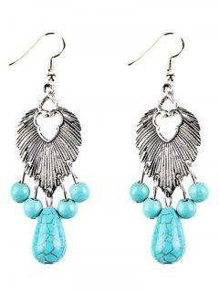 Faux Turquoise Beads Chandelier Earrings - Silver