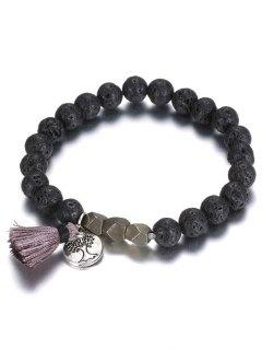 Beads Tree Tassel Charm Bracelet - Black
