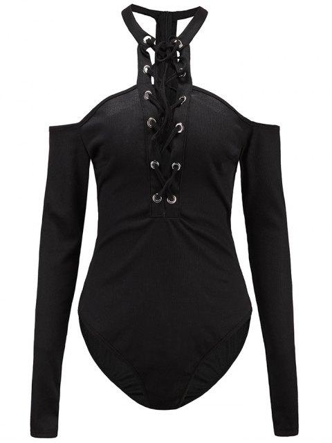 women Long Sleeves Lace Up Cold Shoulder Bodysuit - BLACK S Mobile