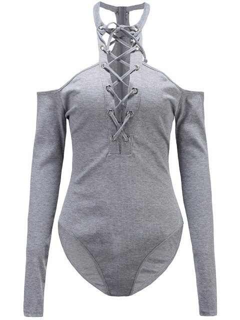 lady Long Sleeves Lace Up Cold Shoulder Bodysuit - GRAY M Mobile