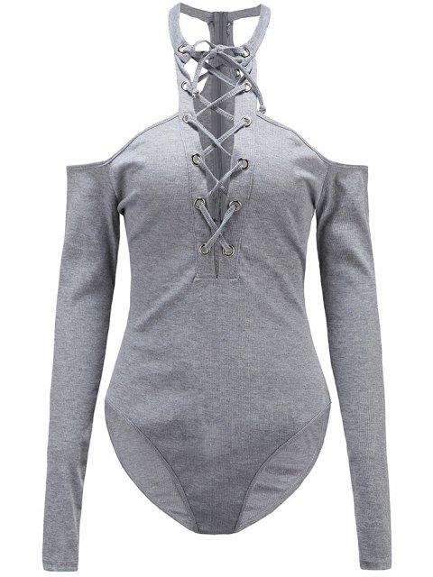ladies Long Sleeves Lace Up Cold Shoulder Bodysuit - GRAY L Mobile