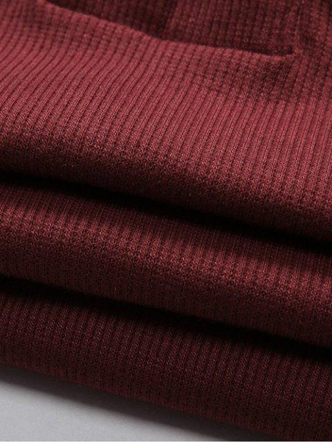 Manches longues lacent froide épaule Bodysuit - Gris S Mobile