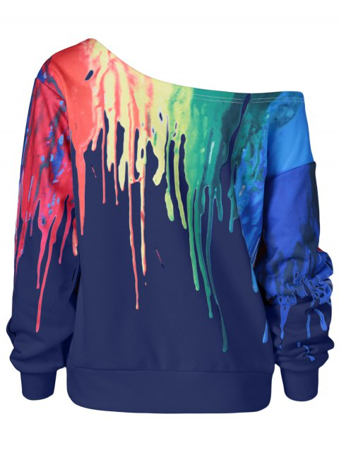 ladies Skew Collar Dripping Paint Sweatshirt - BLUE 5XL Mobile