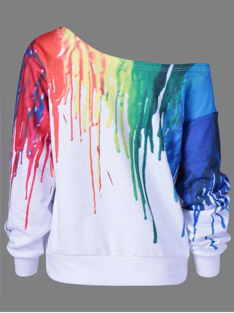 shops Skew Collar Dripping Paint Sweatshirt - WHITE 4XL Mobile