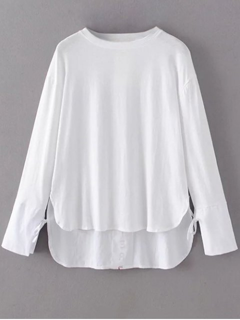 best Tie Sleeve High Low Hem Tee - WHITE S Mobile