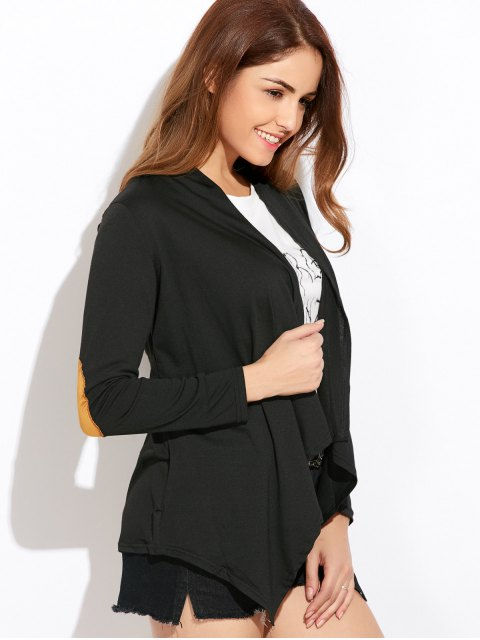 trendy Drape Front Blouse With Elbow Patch - BLACK XL Mobile