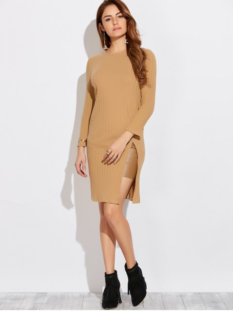 women's High Furcal Long Sleeve Dress - KHAKI L Mobile