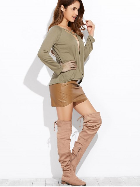 new Plunging Neck Long Sleeve Crossover Top - ARMY GREEN S Mobile