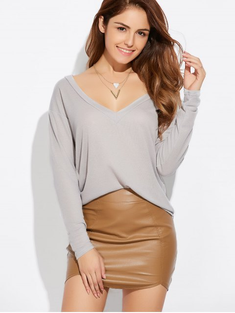 buy Loose Casual Knitwear - GRAY L Mobile