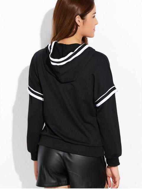 unique String Striped Hoodie - BLACK S Mobile