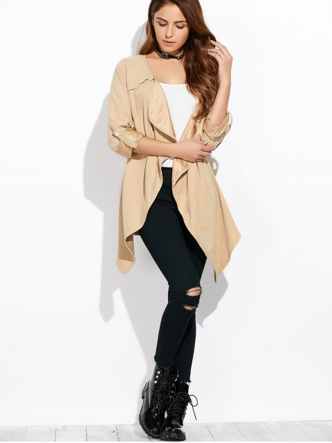 fashion Drape Front Coat - LIGHT KHAKI 2XL Mobile