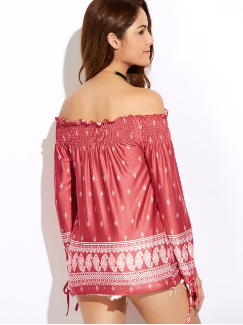 unique Printed Off The Shoulder Top - RED XL Mobile