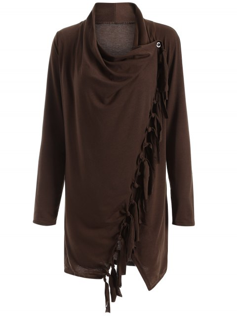 trendy Tassels Side Button Cape - COFFEE S Mobile