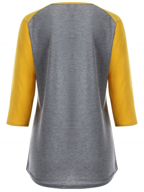 chic Color Block Happy T Shirt - YELLOW + GRAY L Mobile