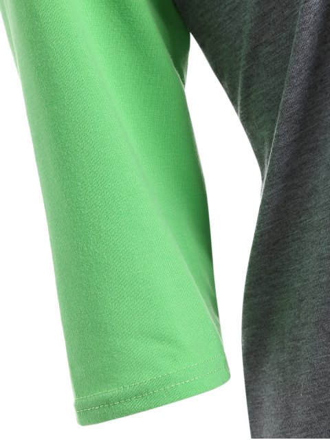 affordable Color Block Happy T Shirt - GREY + FLUORESCENT GREEN 2XL Mobile