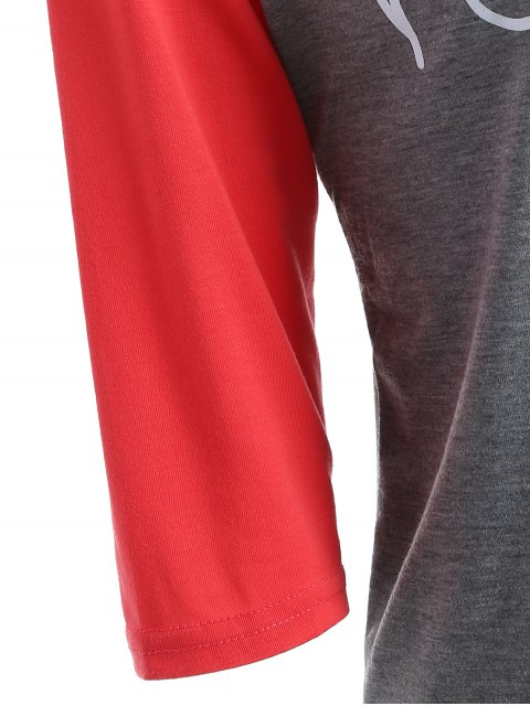 hot Color Block Happy T Shirt - GRAY AND RED S Mobile