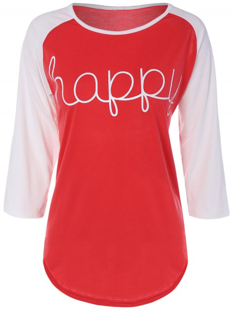 best Color Block Happy T Shirt - RED 3XL Mobile