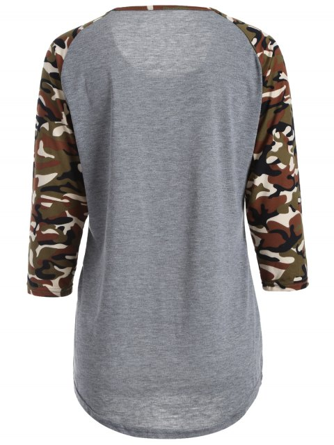 chic Camo Print Happy Graphic T-Shirt - GRAY S Mobile