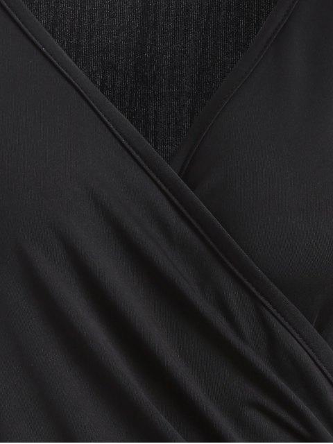 women Buttons Runched Surplice T-Shirt - BLACK M Mobile