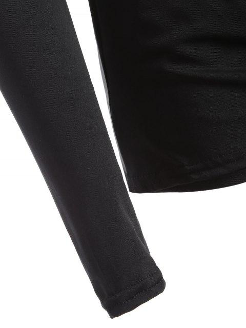 buy Buttons Runched Surplice T-Shirt - BLACK XL Mobile