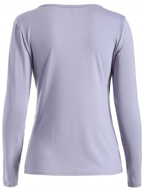 best Buttons Runched Surplice T-Shirt - GRAY M Mobile