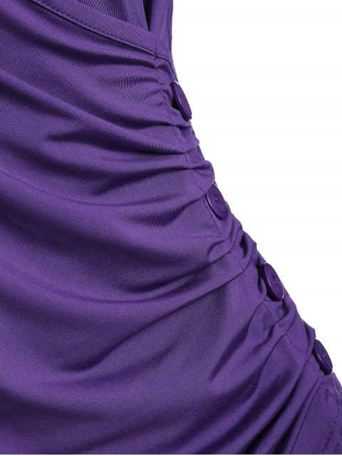 outfit Buttons Runched Surplice T-Shirt - PURPLE M Mobile
