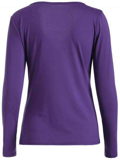 outfits Buttons Runched Surplice T-Shirt - PURPLE S Mobile