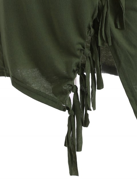new Tassels Side Button Cape - ARMY GREEN M Mobile