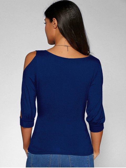 unique Cold Shoulder V Neck Top - DEEP BLUE L Mobile