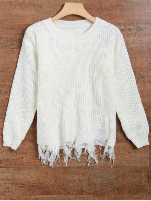 women's Fringed Ripped Sweater - OFF-WHITE ONE SIZE Mobile