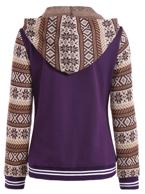 ladies Button Up Tribal Print Panel Drawstring Hoodie - PURPLE L Mobile