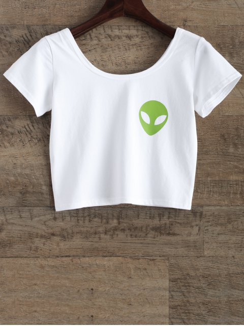 online Funny Crop Top - WHITE M Mobile