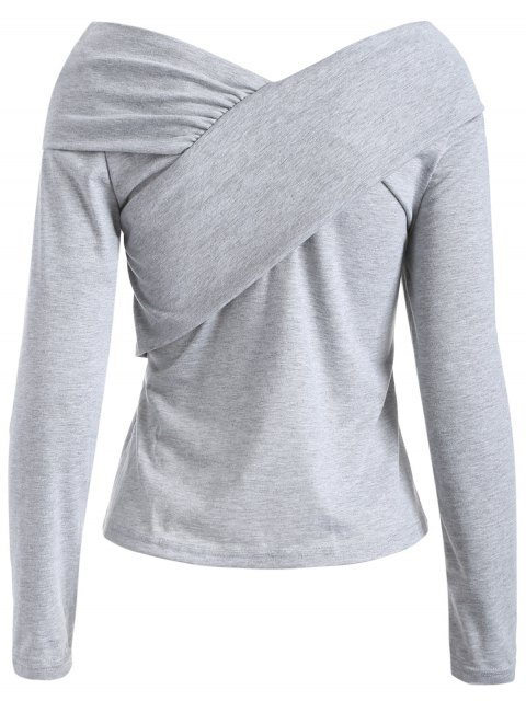 outfit V Neck Surplice T Shirt - GRAY 2XL Mobile