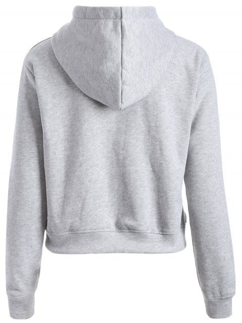affordable Letter Print Sports Hoodie - GRAY L Mobile