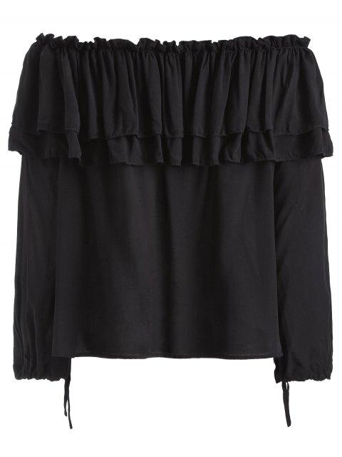 outfit Flounce Ruffles Off The Shoulder Blouse - BLACK XL Mobile