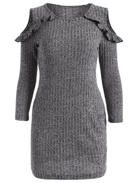 outfits Cold Shoulder Bodycon Sweater Dress - GRAY 2XL Mobile