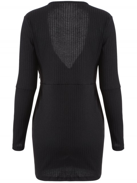 lady Long Sleeve Bodycon Plunge Dress - BLACK L Mobile