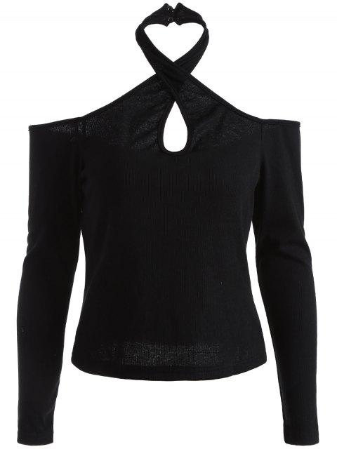 fancy Cold Shoulder Twist Halter Tee - BLACK S Mobile