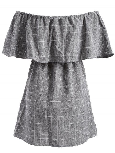 fancy Checked Off The Shoulder Ruffles Dress - GRAY L Mobile