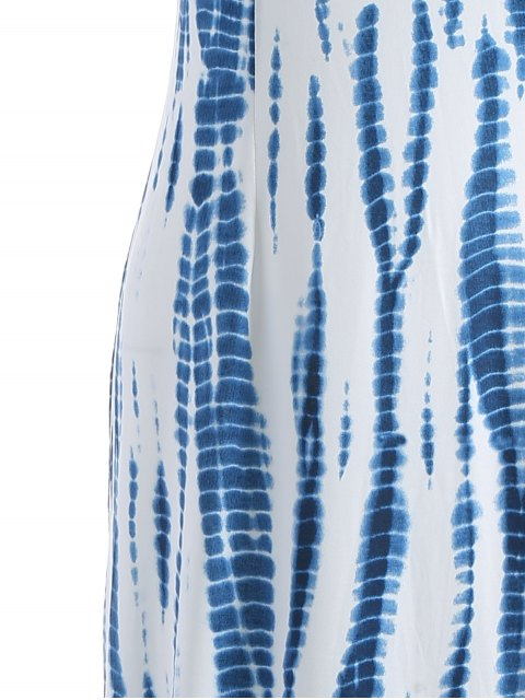 hot Tie Dye Maxi Halter Prom Dress - BLUE AND WHITE S Mobile
