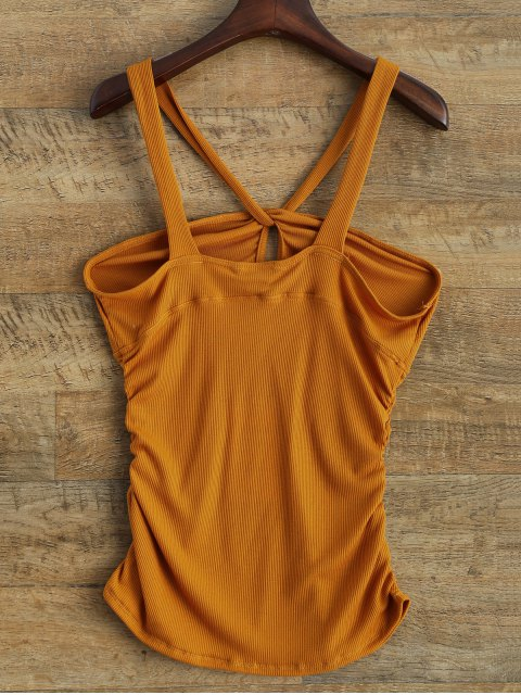 affordable V Strap Tank Top - DEEP YELLOW XL Mobile