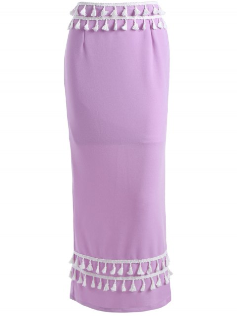 trendy Maxi Meimerd Skirt - PURPLE S Mobile